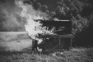 Flaming Music, Piano Music Piano. Piano On Fire.